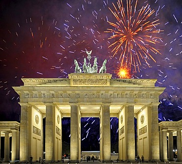 Brandenburg Gate, fireworks, Berlin, Germany, Europe