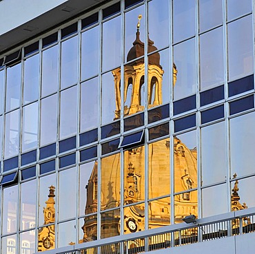 Frauenkirche Church of Our Lady, reflected in the Kulturpalast Culture and Convention Centre, Dresden, Saxony, Germany, Europe