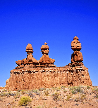 Sandstone formation Three sisters, Goblin Valley State Park, Utah, USA