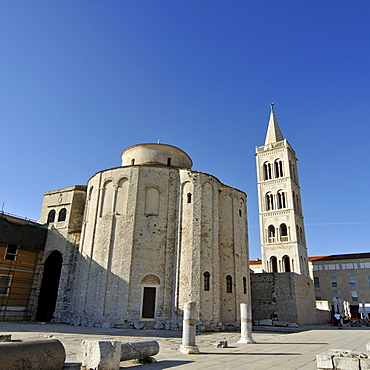 Ninth-century pre-Romanesque Church of St. Donatus, Crkva Svetog Donata, with Campanile, bell tower, of St. Anastasia's Cathedral in Zadar, Croatia, Europe