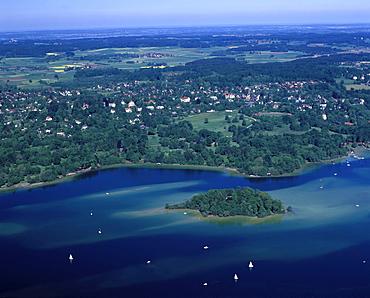 Roseninsel island, aerial picture, Feldafing at Lake Starnberg, Upper Bavaria, Bavaria, Germany, Europe