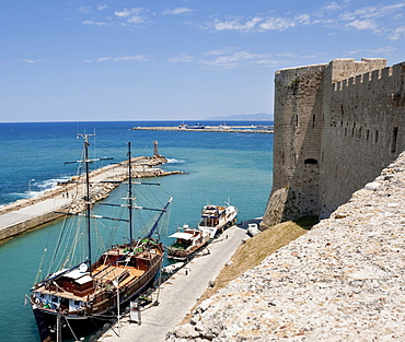 View from the citadel of the port entrance, Turkish mainland in the back, Kyrenia, Girne, Northern Cyprus, Europe