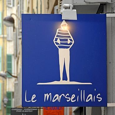 Restaurant sign, Le Marseillais, Marseille, Bouches-du-Rhone, Provence-Alpes-Cote d'Azur, France, Europe