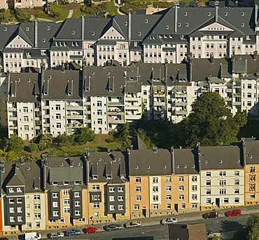Aerial photo, rental properties, Wehringhausen, perimeter block development, Hagen, Sauerland, North Rhine-Westphalia, Germany, Europe