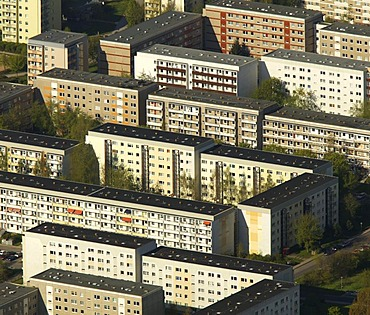 Aerial photograph of high rise residential estate, prefabricated buildings, Neu Olvenstadt, Magdeburg, Saxony-Anhalt, Germany, Europe