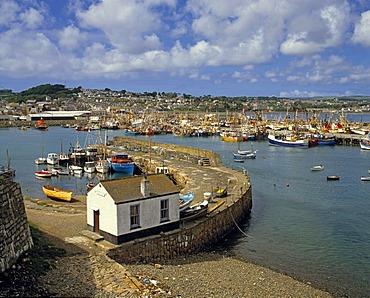 Newlyn Harbour with fishing boats, Penzance, Cornwall, England, UK