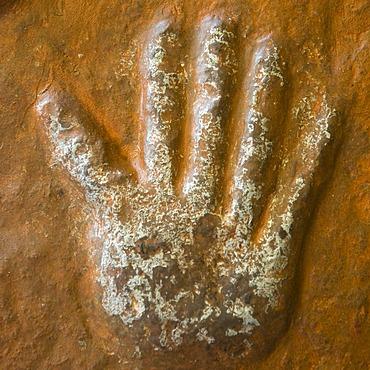 Sati stone, hand imprints of the 15 royal widows of Maharaja Man Singh who committed self-immolation, Mehrangarh Fort, Jodhpur, Rajasthan, India, South Asia