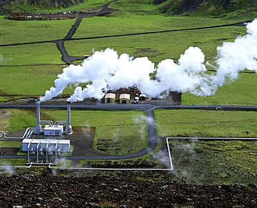 Geothermal power plant, Nesjavellir, aerial picture, Iceland