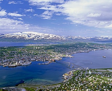 Tromso, aerial view, Tromso Bridge, mountains, Troms province, Norway