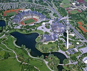 Aerial picture, Olympiazentrum, Olympia Stadium, Olympia Tower, radio tower, car park, Upper Bavaria, Germany, Europe