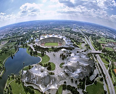Aerial picture, Olympiazentrum, Olympia Stadium, Olympia Park, view from the television tower, car park, Upper Bavaria, Germany, Europe