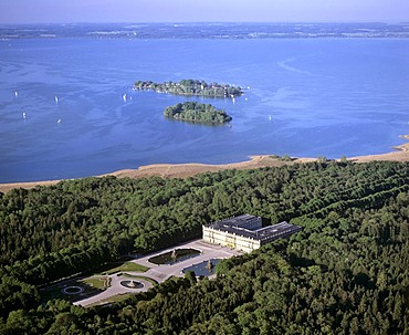 Aerial picture, Herrenchiemsee Castle, Frauenchiemsee Island in the back, Lake Chiemsee, Chiemgau, Upper Bavaria, Germany, Europe
