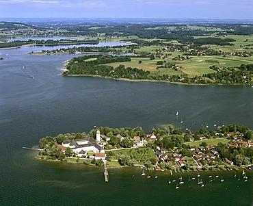 Aerial picture, Frauenchiemsee Island, Frauenwoerth Monastery, Lake Chiemsee, Upper Bavaria, Germany, Europe