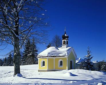 Mittenwald Upper Bavaria Germany chapel Maria Rast near the path to the Kranzber