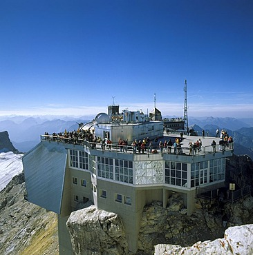 Zugspitze Wetterstein mountains Upper Bavaria Germany houses on the summit