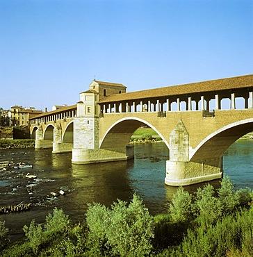 Ponte Coperto (Coperto Bridge) across the Ticino River, Pavia, Lombardy, Italy