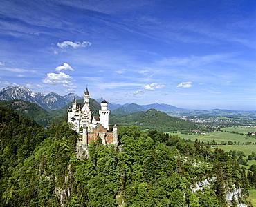Neuschwanstein Castle, Panorama, Fuessen, Allgaeu, Bavaria, Germany