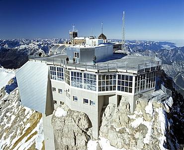 Summit station, Zugspitze, Germany's highest mountain, Wetterstein Range, Upper Bavaria, Bavaria, Germany, Europe