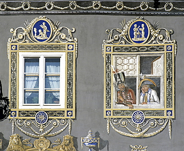 Garmisch-Partenkirchen, zum Husar Inn, painted windows, Upper Bavaria, Bavaria, Germany, Europe
