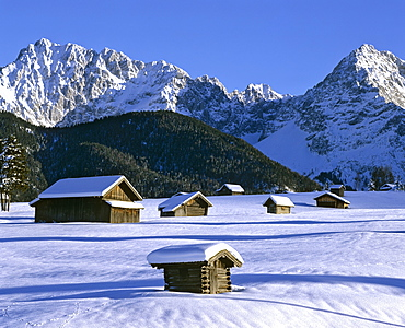 Winter landscape near Mittenwald, Karwendel mountains, Woerner, Upper Bavaria, Germany