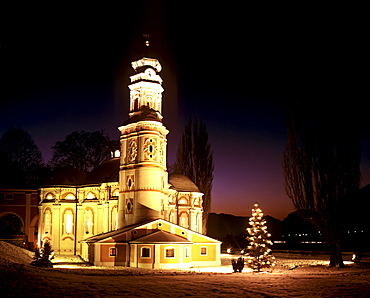 Wintertime, Karlskirche Church, Christmas tree, near Volders, Inn Valley, Tirol, Austria, Europe