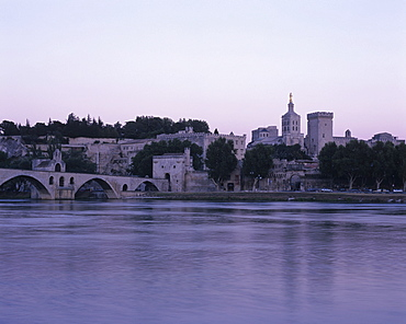 Across Rhone to Papal Palace, France, Provence, Avignon