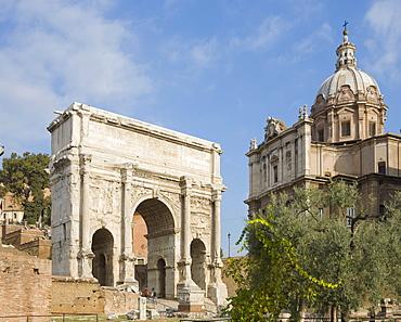 Arch of Septimius Severus and ss Luca e Martina Church, Forum Romanum, Rome, Italy, Europe
