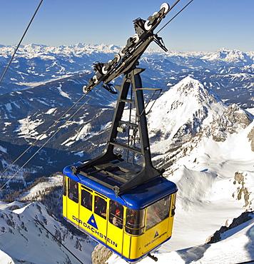 Gondola lift with Mt. Scheiblingstein in the background, Dachstein Massif, Styria, Austria, Europe