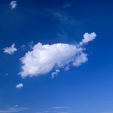 White clouds in front of a blue sky