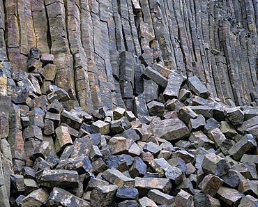 Quarry, basalt stone quarry, basalt array, basalt columns behind
