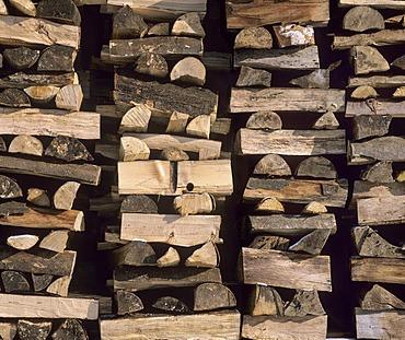 Stacked firewood, full frame