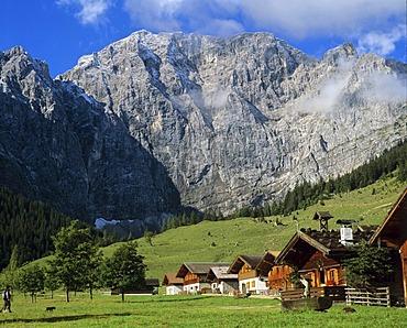 Grosser Ahornboden, Engalm, Grubenkarspitze, Gruberkar Wall, Karwendel, Tyrol, Austria