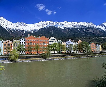 Row of houses, Mariahilf, Inn, Karwendel, Innsbruck, Inntal, Tyrol, Austria