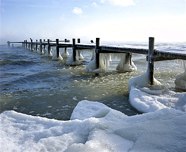 Landing stage near Lambache at Lake Chiemsee, Chiemgau, Upper Bavaria, Germany