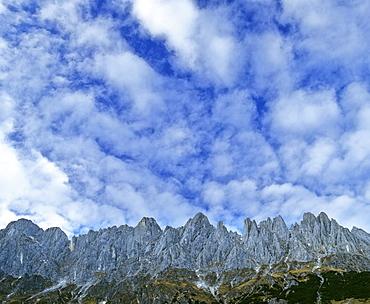 Altocumulus clouds in a blue sky and mountain panorama, Manndlwand, Salzburger Land, Austria, Europe