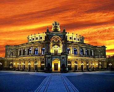 Semperoper, Saxon State Opera at sunset, Dresden, Saxony, Germany, Europe