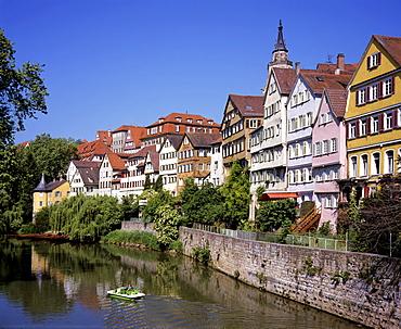 Historic facades along the Neckar River in Tuebingen am Necker, Baden-Wuerttemberg, Germany, Europe