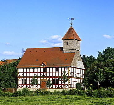 Fachwerk-style church dating to 1704 in Carlsdorf, Hesse, Germany, Europe