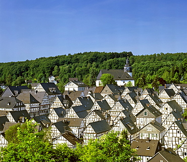 Fachwerk-style houses in the historic centre of the town of Freudenberg, North Rhine-Westphalia, Germany, Europe