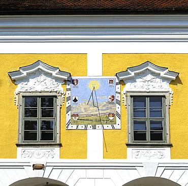 Sun dial, Schloss Tillysburg (Tillysburg Palace), Linz, Upper Austria, Austria, Europe