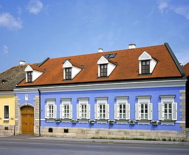Blue house facade, St. Margarethen, Burgenland, Austria, Europe