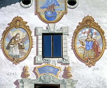 Frescoes on a farmhouse, Unterleutasch, Leutasch, Tyrol, Austria