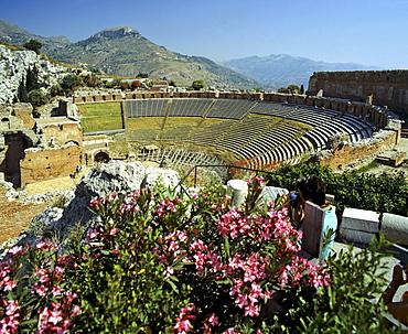 Ancient Roman theatre in Taormina, upper tiers, Sicily, Italy