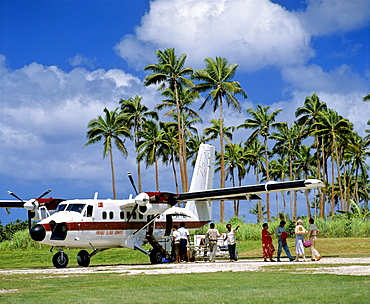 Airport, Friendly Islands Airways, palm trees, Tonga, South Pacific, Oceania