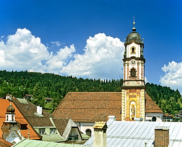 Pfarrkirche, parish church, Mittenwald, St. Peter and Paul, Upper Bavaria, Bavaria, Germany