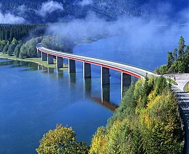 Sylvenstein Bridge, Sylvenstein Reservoir, autumn, Isartal Valley, Upper Bavaria, Bavaria, Germany