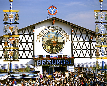 Oktoberfest, Octoberfest Munich beer festival, Braeurosl pavilion tent, Theresienwiese, Munich, Bavaria, Germany