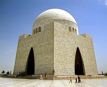 Mazar-e-Quaid or National Mausoleum, mausoleum of Muhammad Ali Jinnah, marble, Karachi, Pakistan