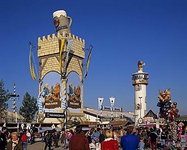 Towers of the Paulaner and Loewenbraeu beer brewery beer tents Oktoberfest Munich Germany