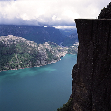 View from Prekestolen, pulpit rock, Lysefjord, Stavanger, Rogaland, South-West-Morway
